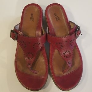 Dansko Tooled Leather Sandals Red 40 Thong